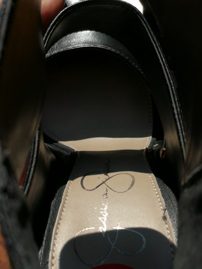 Jessica Simpson Zippered Wraparound Ankle Strap Pointed Toe Black Pumps Image 8
