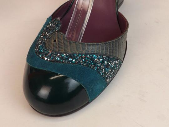 Marc Jacobs Turquoise Buckle Lizard Print Italy Green Pumps Image 3