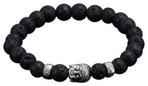 Other New!! Mens Black Buddha Lava Elastic Bracelet