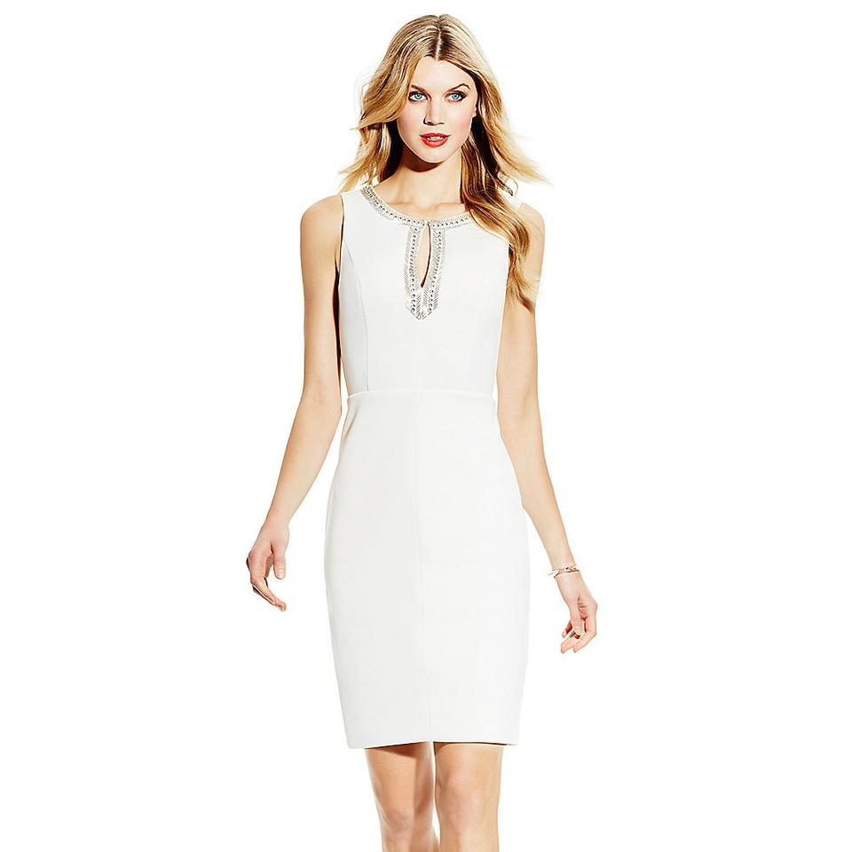 ce935d29 Vince Camuto White Cloud Stunning Beaded Sheath Short Cocktail Dress ...