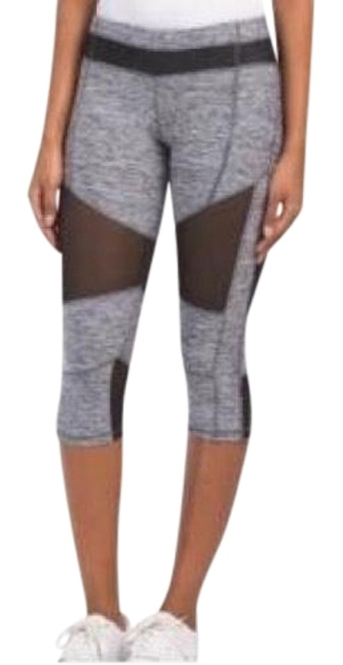 a0a96ca5a468 Electric Yoga Heather Grey Color Block Mesh Capris Activewear ...