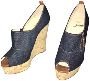 Christian Louboutin Red Bottoms Loubs Jean Material Denim Wedges