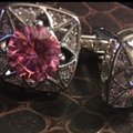 Other Men's Rhinestone & Pink High Quality Cufflinks (One Size) Image 2