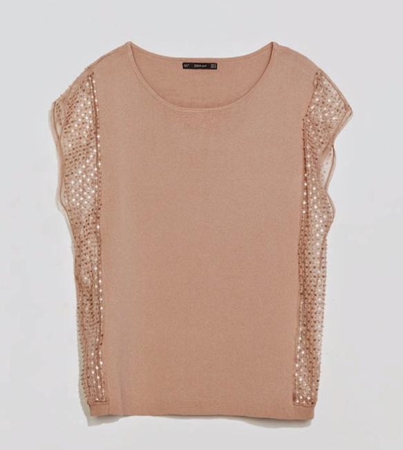 Zara Side Cut Out Side Detail Sequin Top pink Image 1