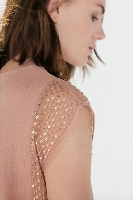 Zara Side Cut Out Side Detail Sequin Top pink Image 2