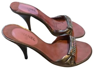 Chanel gold patent leather & pink Sandals