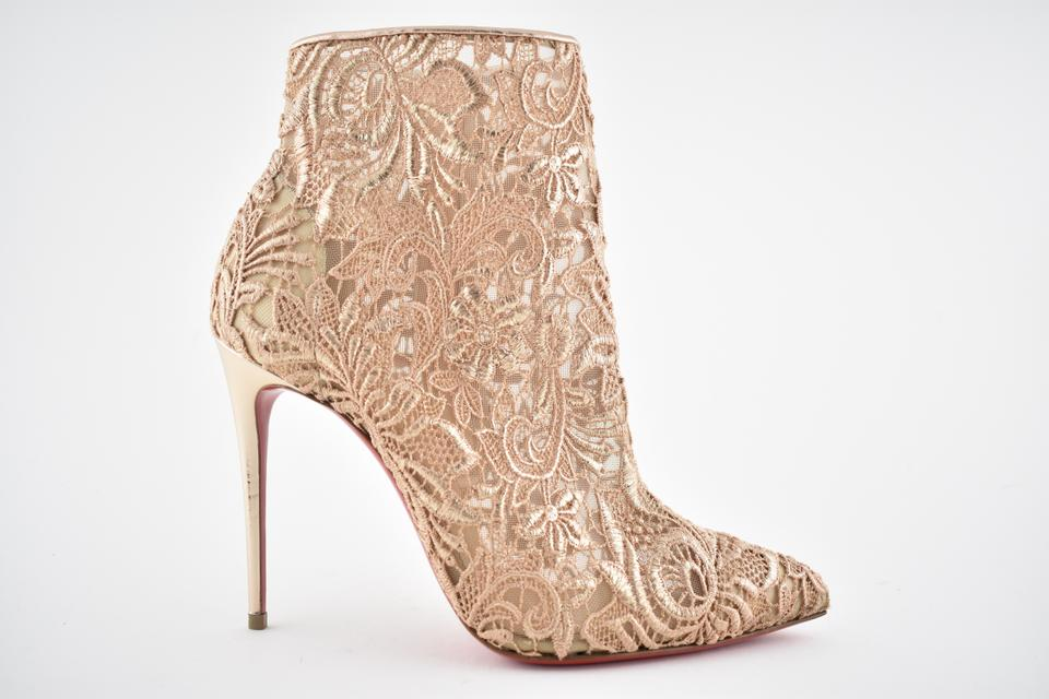 new concept 11b05 a73ef Christian Louboutin Nude Gipsybootie 100 Beige Rose Gold Lace Mesh Heel  Boot Bootie Pumps Size EU 38.5 (Approx. US 8.5) Regular (M, B)