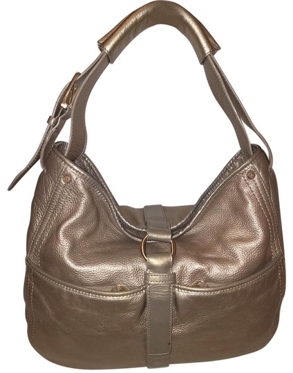 353d276d8ac3 Cole Haan Extra-large Handbag Strap Flap Cover Close Taupe Metallic Leather  Hobo Bag
