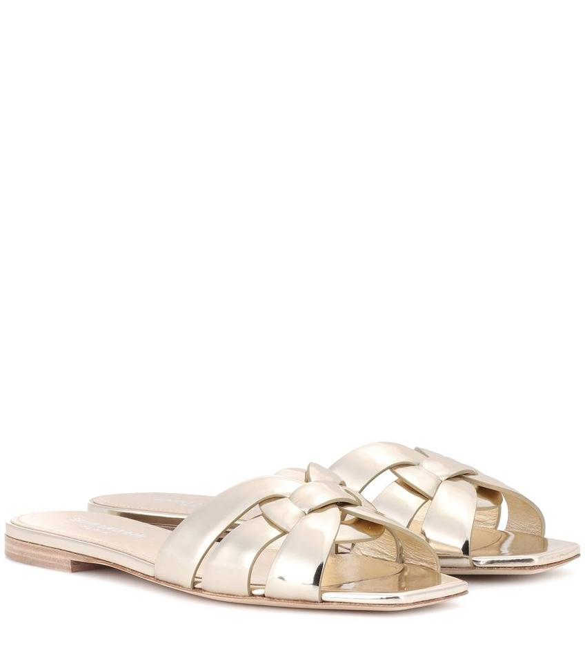 Saint Laurent Gold Tribute Ysl Nu Pied Platino Woven Slide