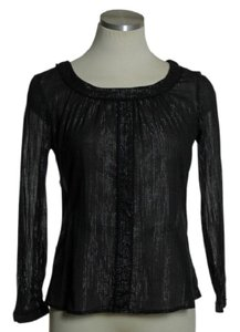 Urban Outfitters Sheer Metaliic Glitter Silver Tunic Top black