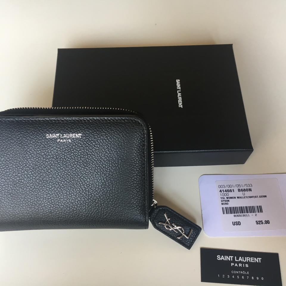 986c34f4db Saint Laurent Black Rive Gauche Compact Zip Around In Grained Leather  Wallet 27% off retail