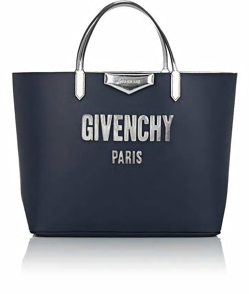 625a685f4af1 Givenchy Antigona Shopping Navy Silver Leather Logo Shopper Tote ...