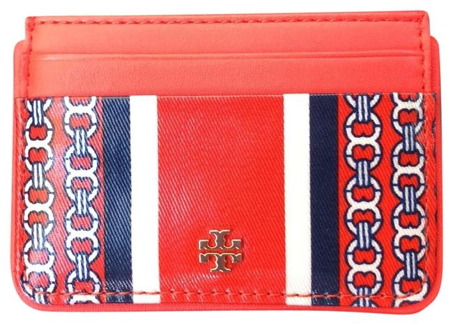 Tory Burch Orange Gemini Chain Link Stripe Slim Card Holder Wallet Tory Burch Orange Gemini Chain Link Stripe Slim Card Holder Wallet Image 1