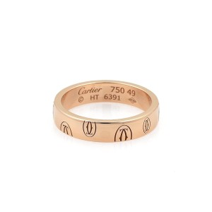 Cartier Happy Birthday 18k Rose Gold 4mm Wide Band Ring Size 49-US 5 Cert.