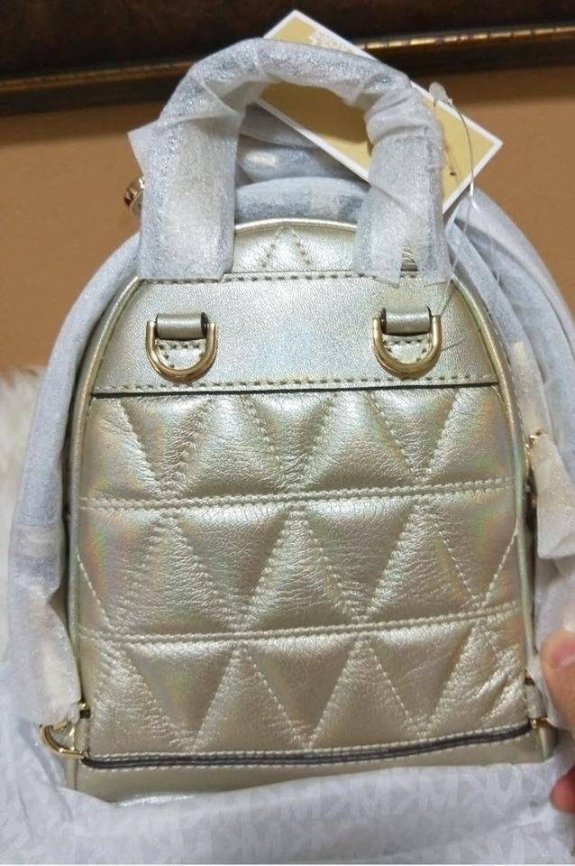 27a76507c696 Michael Kors Rhea Mini Metallic Quilted Gold Leather Backpack - Tradesy