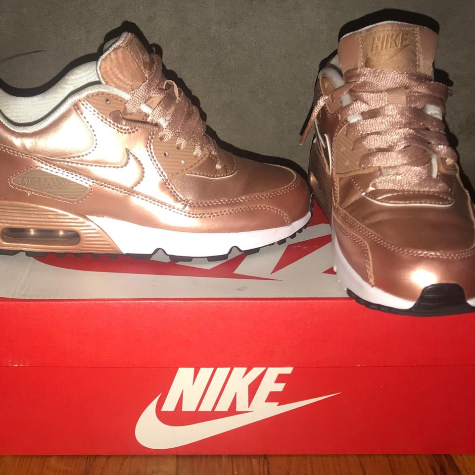 c90a18a4c04 Nike Rose Gold  Metallic Bronze Air Max 90 Se Ltr (Gs) Sneakers Size ...