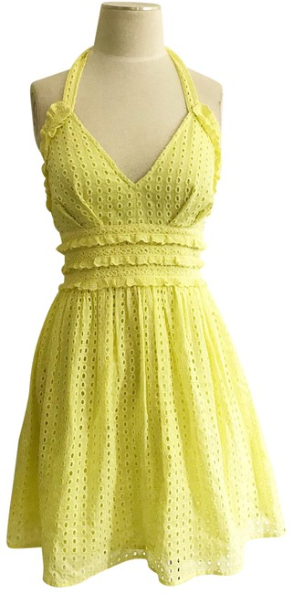 Preload https://img-static.tradesy.com/item/23760392/yellow-eyelet-embroidered-low-cut-halter-retro-short-night-out-dress-size-4-s-0-1-650-650.jpg