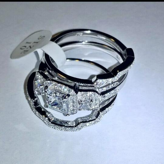 Silver & Clear 3pc .925 Sterling Halo Cz Set Size 8 Ring Image 1