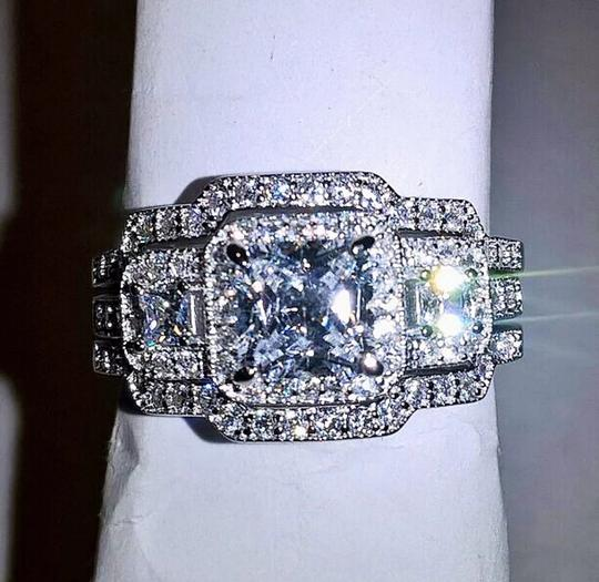 Silver & Clear 3pc .925 Sterling Halo Cz Set Size 8 Ring Image 2