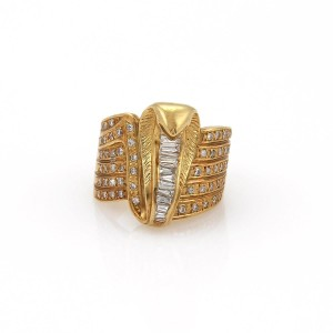 Other Estate 1.00ct Diamond 18k Yellow Gold Cobra Wide Band Ring