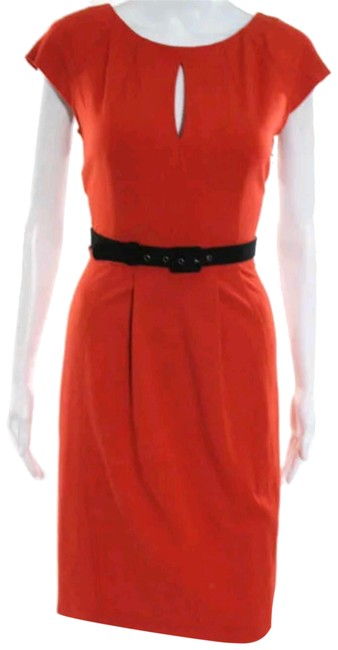 Preload https://img-static.tradesy.com/item/23760712/moschino-orange-black-scoop-neck-cheap-and-chic-knee-length-belted-gown-mid-length-cocktail-dress-si-0-1-650-650.jpg