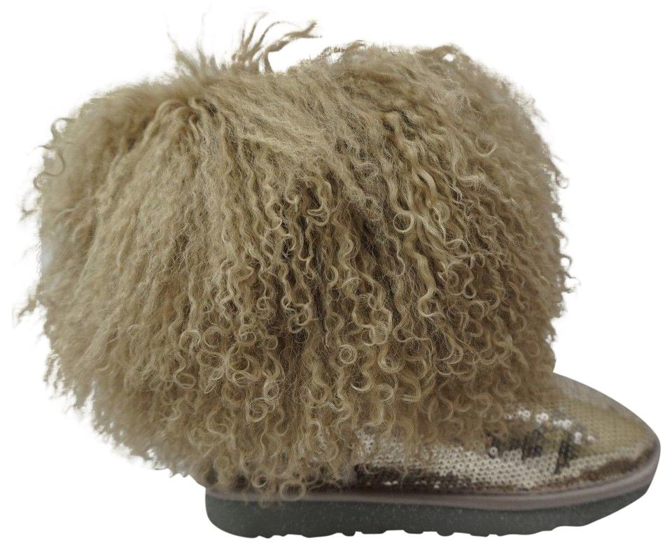 2fcae9265d2 UGG Australia Silver Short Sparkles Mongolian Fur Sheepskin Genuine  Shearling Boots/Booties Size US 6 Regular (M, B)