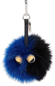 Fendi Fendi Monster Eyes Black Blue Fox Fur Bag Bug Charm Keychain
