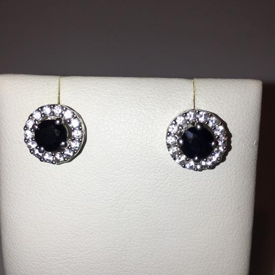 Sapphire Halo Earring Sterling Silver Round Image 1