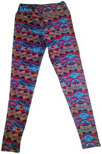LuLaRoe Soft Aztec Multi-colored Blue, Red multi Leggings