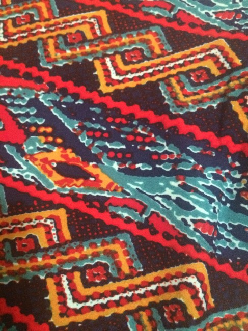 LuLaRoe Soft Aztec Multi-colored Blue, Red multi Leggings Image 1