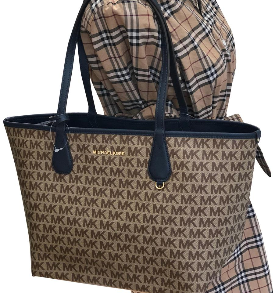 05ee37214583c3 Michael Kors Large Candy Siganature Reversible Navy Blue/Beige Polyester  Tote