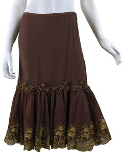 36261bc53 Anthropologie Tulle Beads Metallic Embroidered Flowers Skirt Brown/Gold