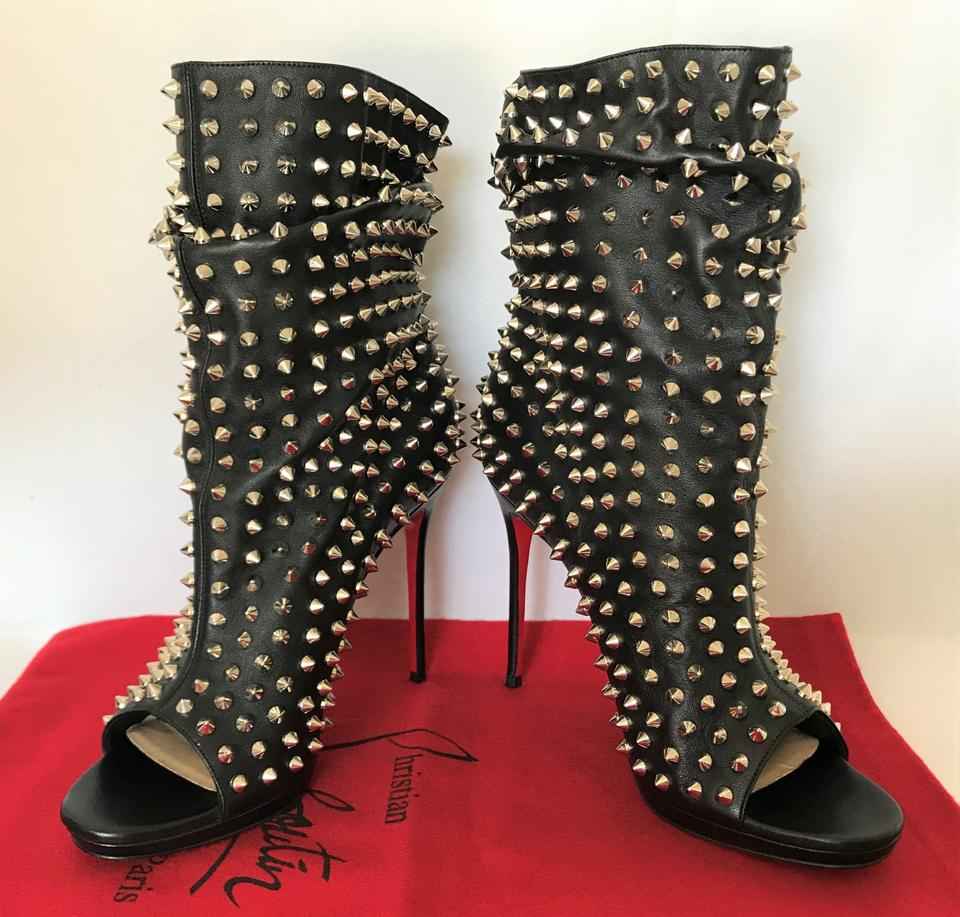 Leather Toe Booties Spike Christian Silver Heel High It Lady Black Louboutin Guerilla Boots Ankle Platform wnwxPI1q