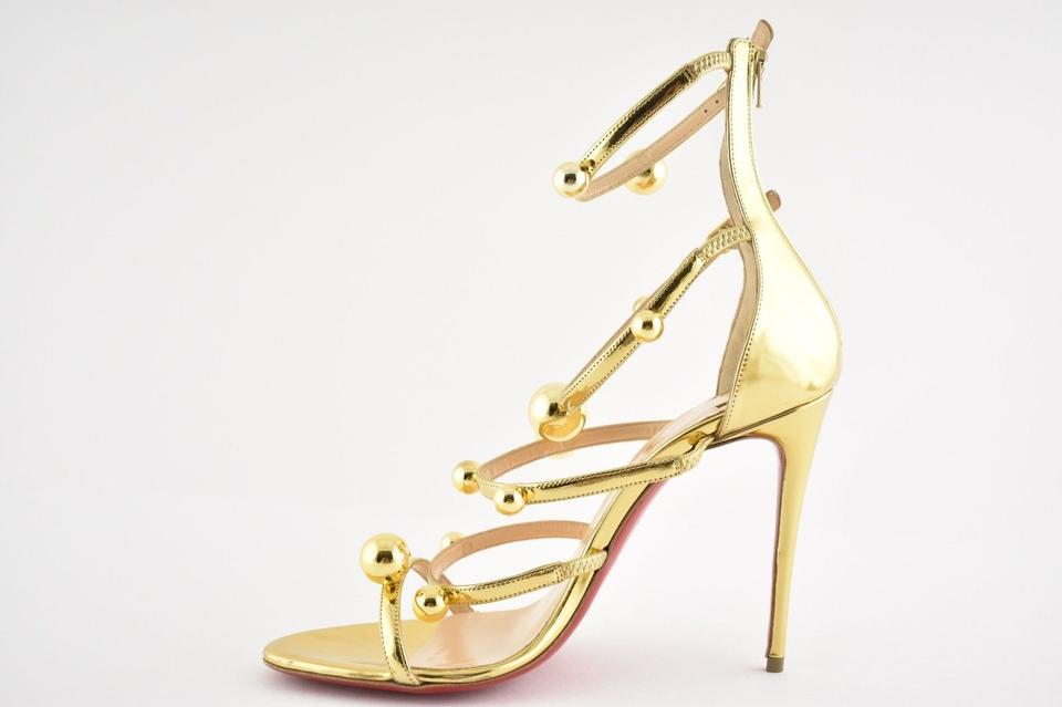 Leather Patent Gold Strappy Specchio Pumps 100 Christian Ball Heel Louboutin Atonana Sandal wxTH4qYX