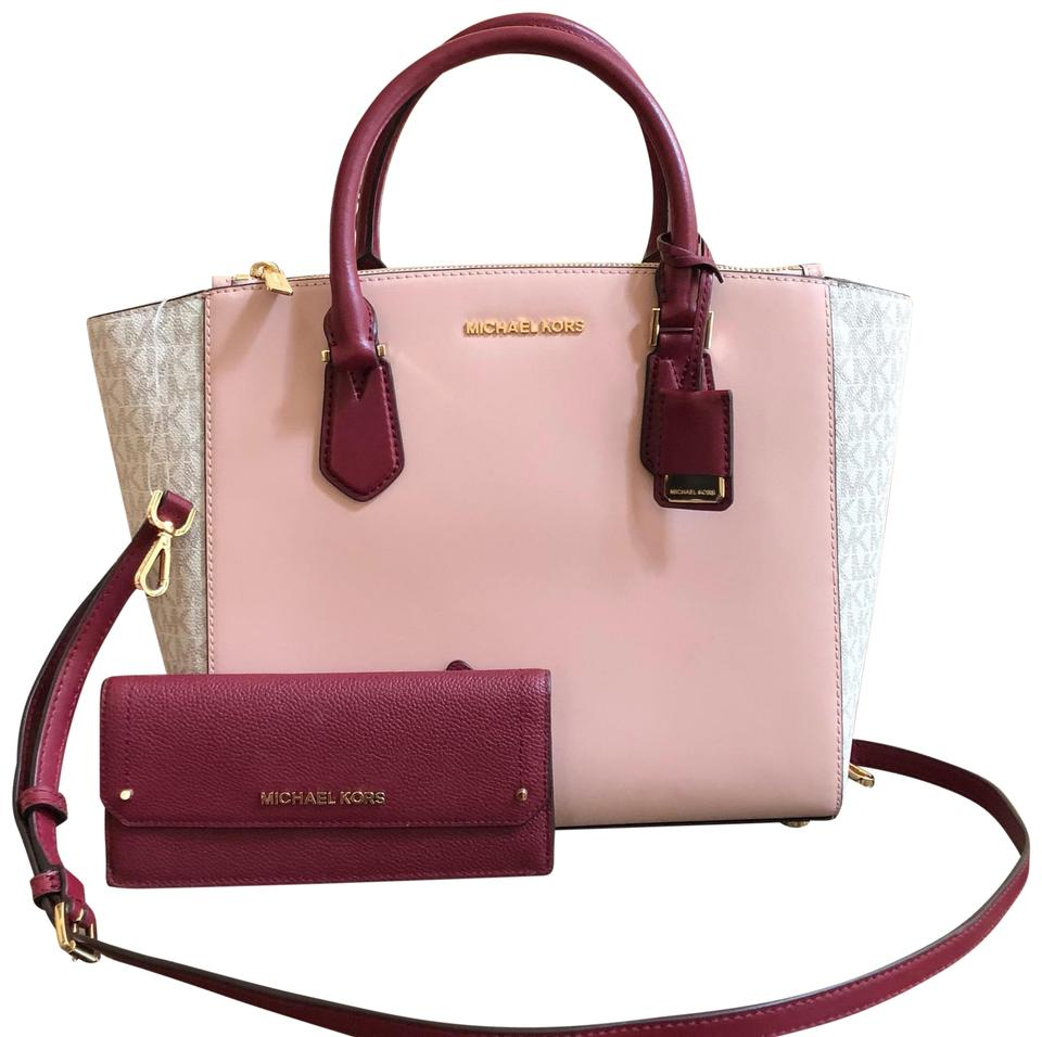 f3d28c895e1974 ... promo code for michael kors embossed leather optic white ellis 3  compartments satchel in vanl pstlpnk