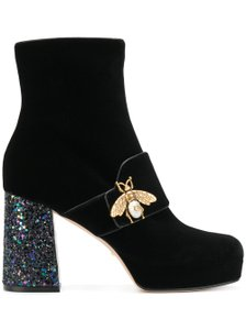 Gucci Stiletto Leather Ankle Mesh black Boots