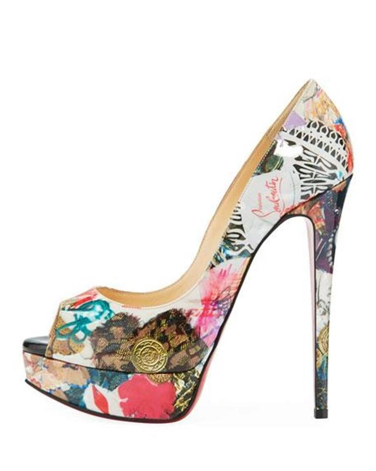 buy popular ed966 b59d4 Christian Louboutin Multicolor Lady Peep 150 Patent Leather Trash Print  Heels Pumps Platforms Size EU 36 (Approx. US 6) Regular (M, B) 18% off  retail