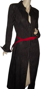 black, red, white stripes Maxi Dress by French