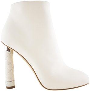 Chanel Stiletto Leather Ankle Tower white Boots