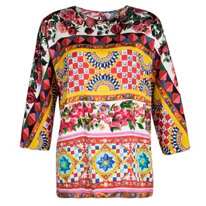 Dolce&Gabbana Multicolor Floral Printed Silk Long Sleeve Top S