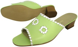 Jack Rogers Lime 9 Palm Beach Sandals Heel New White Open Toe Slip On green Mules