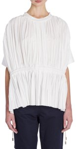 Marni Pleated Drawstring Tunic Top white