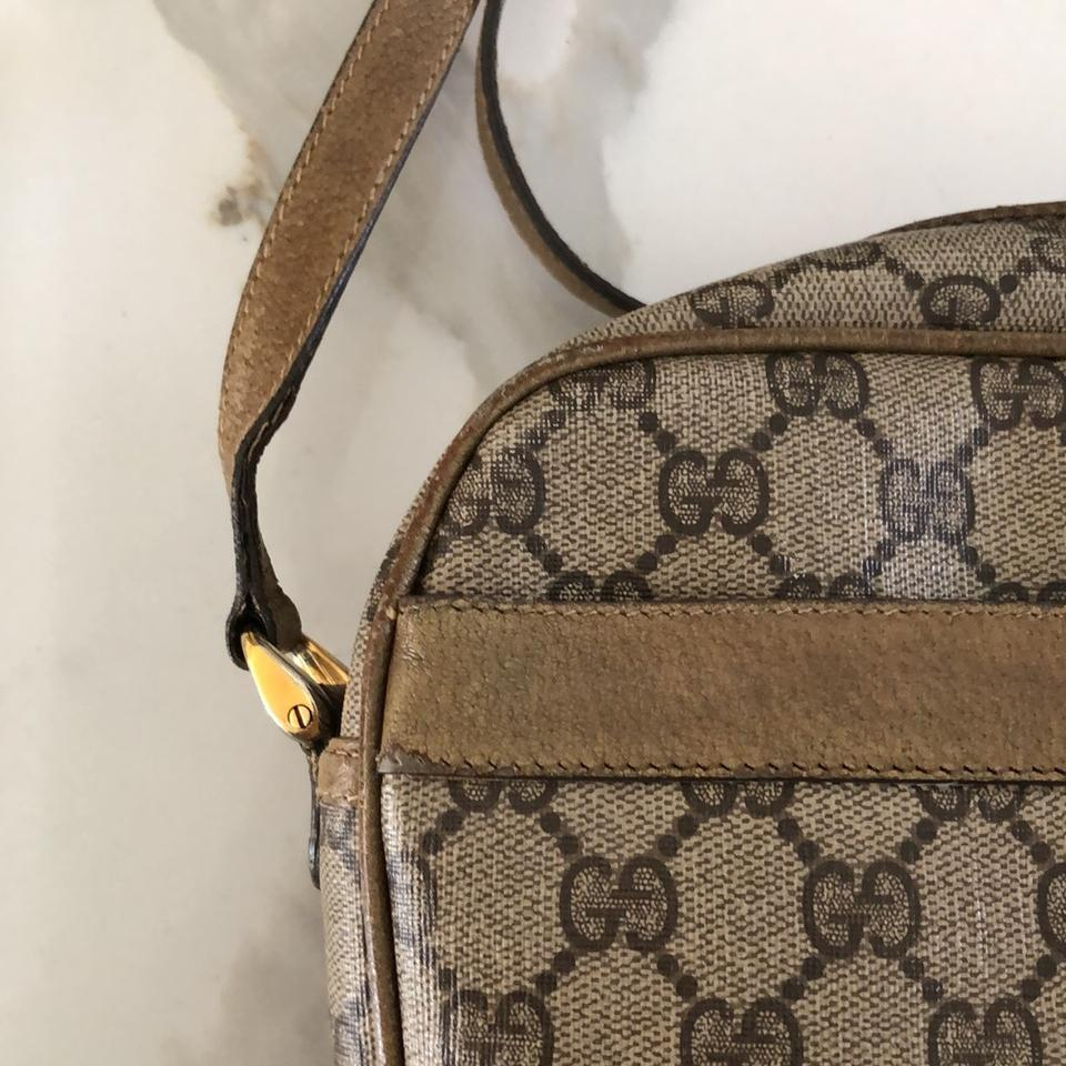 a52857ebf7c Gucci Made In Italy Vintage Classic Signature Brown and Gold Leather Cross  Body Bag - Tradesy