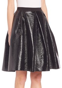 Marc Jacobs Pleated Patent Pleated Full Skirt black