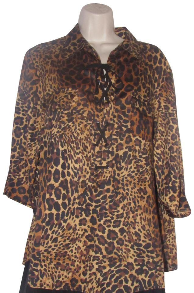 046b116122eb0 Lafayette 148 New York Leopard Print In Shades Of Brown with A Lace Up  Front Tops Designer Clothes Blouse