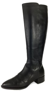 Vince Leather Pointy Toe Low Heel Midcalf Comfortable Black Boots