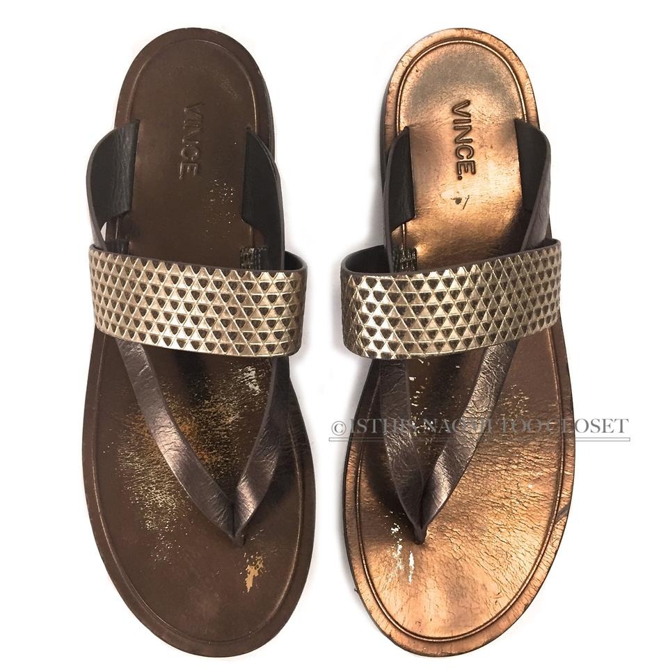 d805d764985 Vince Bronze Made In Italy Slip-on Gladiator Sandals Size US 7.5 Regular  (M