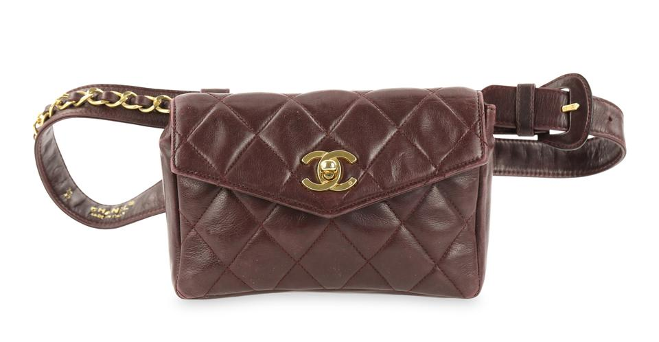 cfb7bf31392e Chanel Chain Flap Waist Oxblood Red Lambskin Leather Cross Body Bag ...