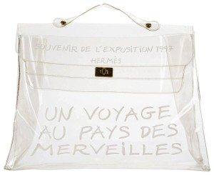 Hermès Birkin Kelly Chanel Naked Plastic Satchel in Clear x White