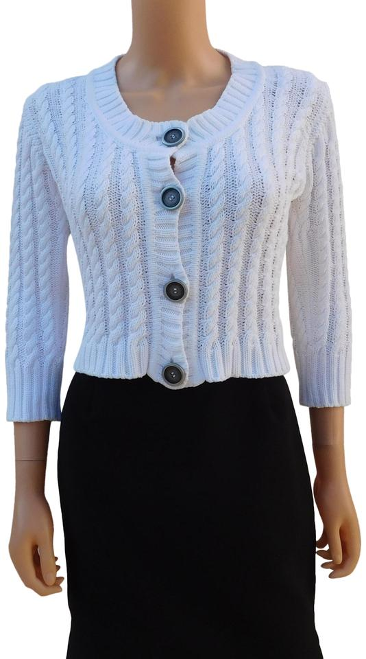 021ffa846b97 Burberry White London Cable Knit Cropped Sweater S Made In Italy ...